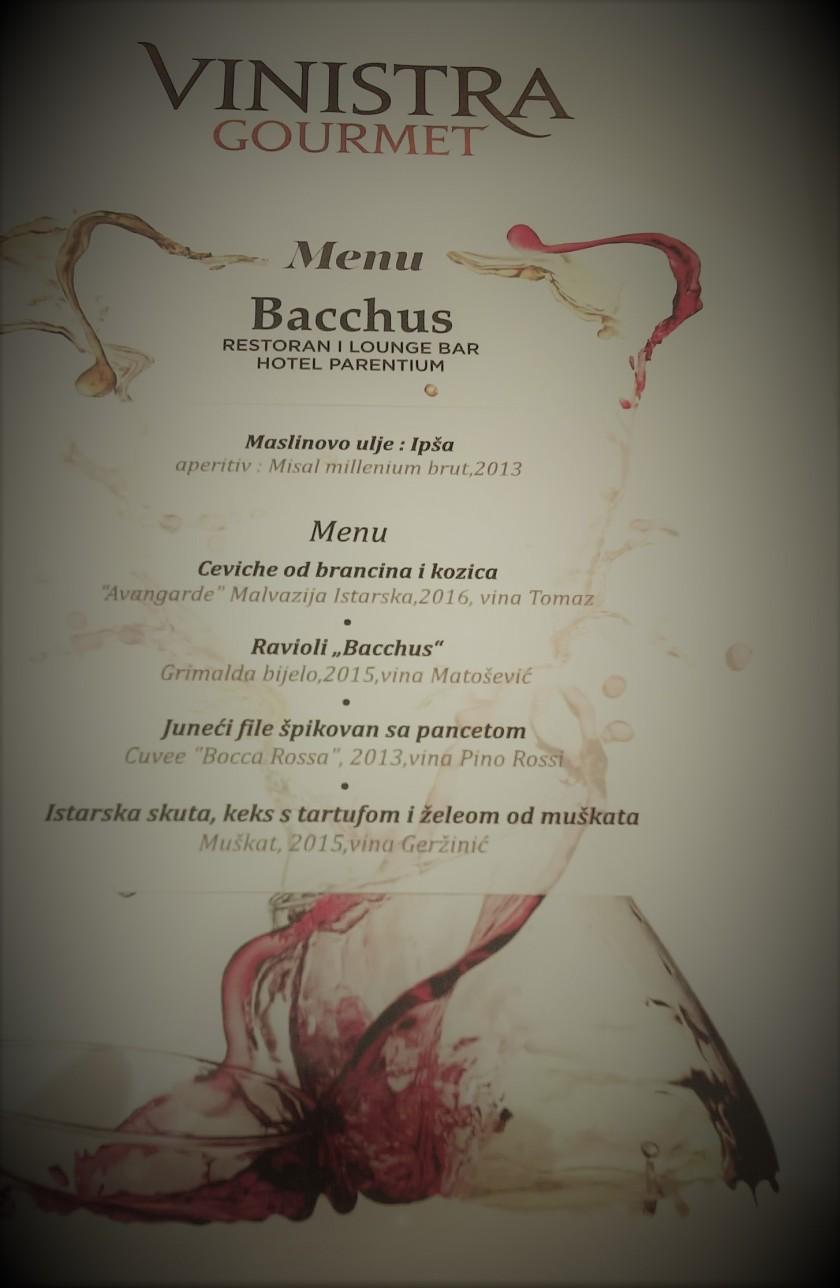 Bacchus menu 1